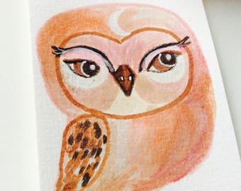 Pink Owl mini painting - Watercolor owl, owl miniature, original painting, animal watercolor, illustration, owl spirit animal, sweet