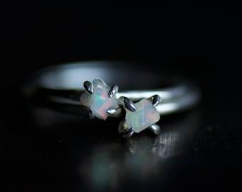 Raw White Australian Opal Ring. Raw Opal Ring. Opal Ring. White Opal Ring. Rough Opal Ring. Opal Engagement Ring. Australian Opal Ring.