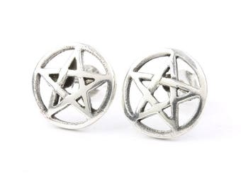 Sterling Silver Pentacle Earrings, Star Posts, Pentagram Stud Earrings, Wiccan, Pagan, Gypsy, Festival Jewelry