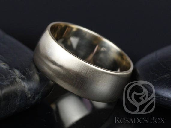 Rosados Box Steve 8mm 14kt Yellow Gold Oval Plain Non-Comfort Fit Matte or High Finish Band (Chic Classics Collection)