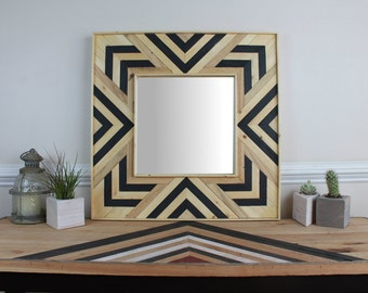 Reclaimed Black/Natural Wood Wall Mirror