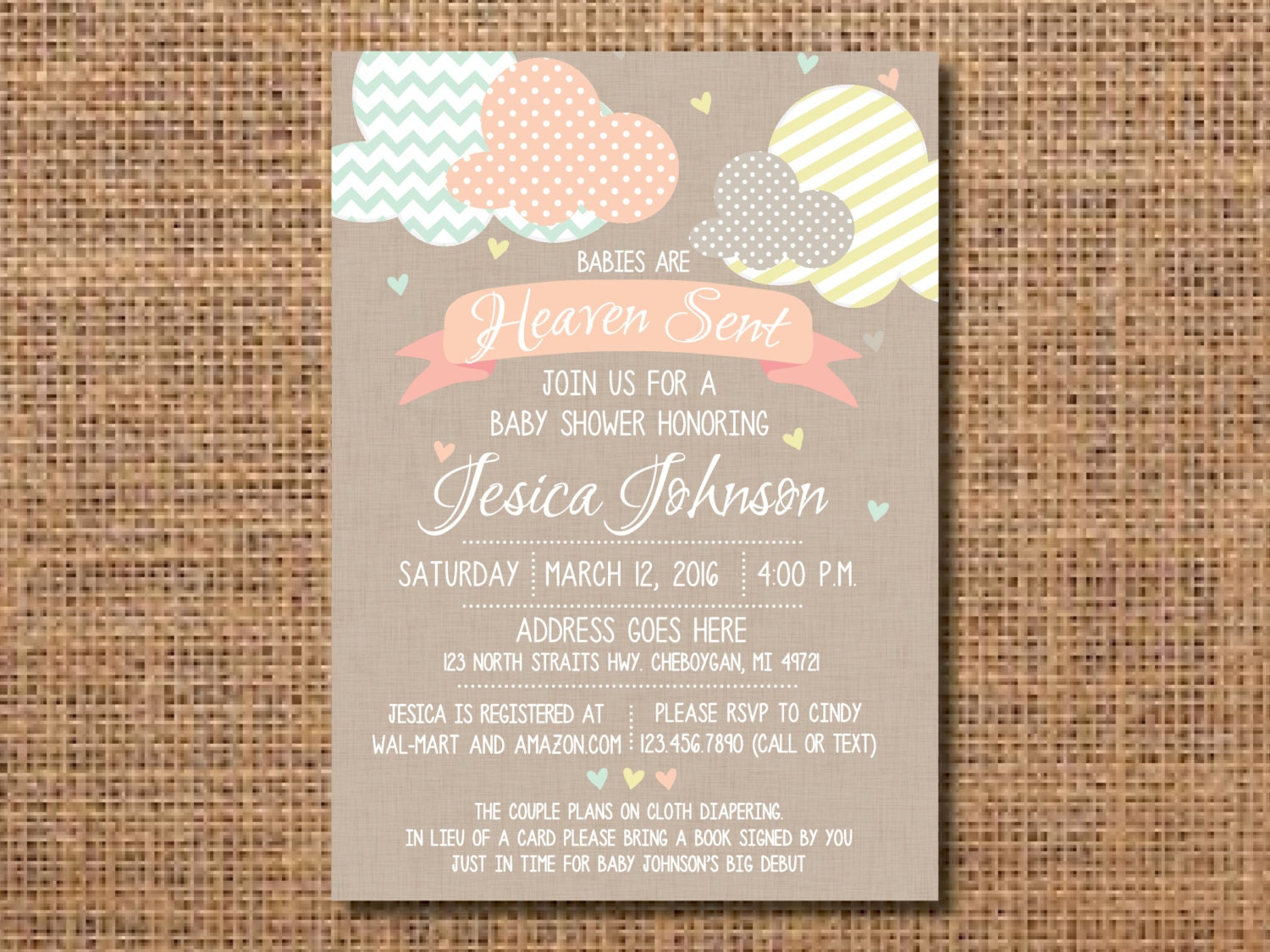 Heaven sent baby shower invitation gender neutral baby zoom filmwisefo Image collections