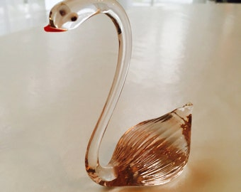 Glass swan handmade