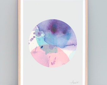 Modern Minimalist Art - Abstract Art, Watercolor Art, Modern Circle Art, Purple Watercolor, Circle Wall Art, Circle Print, Purple and Pink