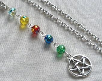 Pentagram necklace,pentacle,5 elements,silver necklace,pentagram jewelry,wiccan jewellery,handmade,gift,pagan ,pentagram pendant,silver
