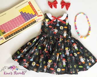 Science Girl-Sleeveless Collar Dress-Toddler Dress-Kids Dress