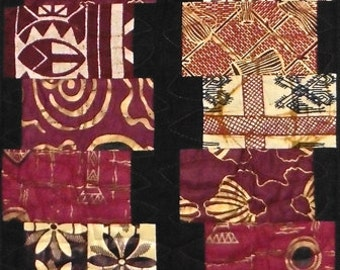Patchwork Quilt - burgundy West African table runner or wall hanging