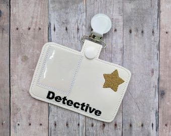Pretend Detective Badge, White Vinyl with Metal Clip and Photo Slot, For Halloween Costume and Dress Up Play, Photo Prop, Police ID Badge