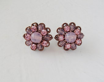 Pastel Pink Crystal Earrings. Rhinestone Jewelry in Vintage Style. Pastel Color Crystal Studs. Baby Pink Earrings Gifts. Pastel Pink Jewelry