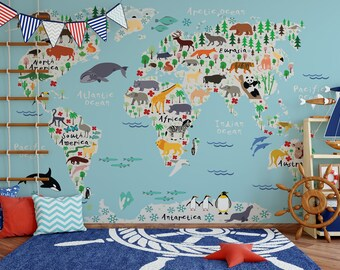 Map wallpaper etsy animal map self adhesive wallpaper kids wall mural wallart print animals gumiabroncs Images