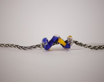 Yellow & Blue Spiral Bead on Chain Bracelet