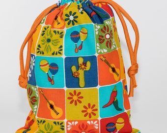 Fiesta, Cinco de Mayo, Party Bags, Birthday Party, Favor Bags, Treat Bags, Candy Bags, Fabric Bags, Goodie Bags, Cactus, Set of 5