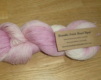 Hand Dyed 4 Ply Bluefaced Leicester and Baby Alpaca Yarn in Pinks and Cream