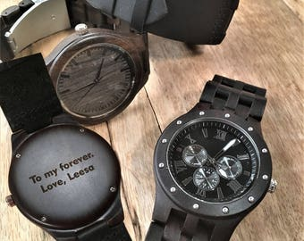 Mens Wood Watch Mens Wooden Watch Watches For Men Engraved Mens Watch Personalized Watch Engraved Mens Gift Personalized Gift For Boyfriend