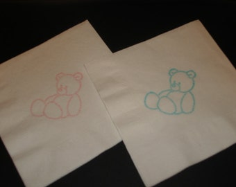 Baby Shower Teddy Bear  Cocktail Napkins Embossed Set of 50