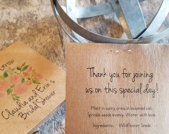 Personalized FUN SIZE Pink Roses Floral and Greenery Bridal Shower Flower Seed Packet Favors Sow in Love Wildflower Seeds Wedding Favors