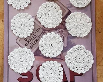 Vintage Set of 10 Matching  Handmade Crocheted Drink Coasters!