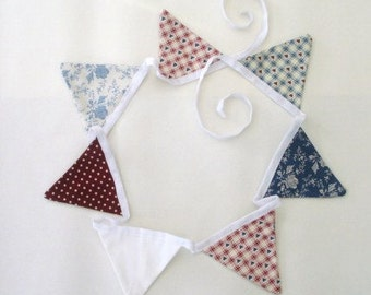 Mini Fabric Bunting - Vintage Hearts, Blue & Wine, Victorian Roses, Eco-friendly, 100% Cotton