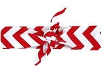 Red & White Chevron Top Knot Headband