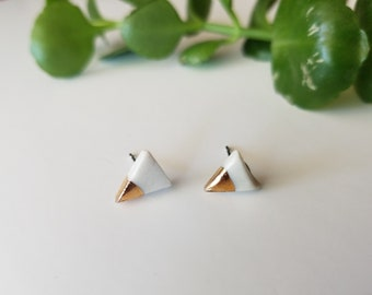 triangle earrings, gold dipped earrings, porcelain earrings, modern earrings, minimalist earrings, tiny earrings, porcelain jewelry, studs