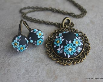 Gorgeous Polymer Clay Applique Statement Pendant Necklace and Earrings Set in Black and Turquoise