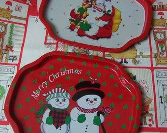 darling snowmen and jolly santa tip trays