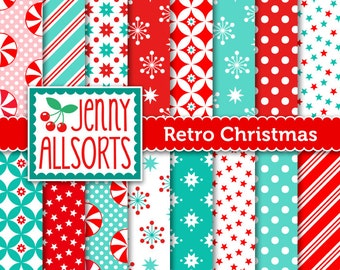 Retro Vintage Christmas Digital Scrapbook Paper, Red Aqua Mint Green - for holiday card making and digital scrapbooking