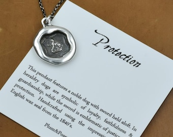 Protection - Dog and Sword Wax Seal Necklace - 336