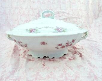 Vintage Oval Covered Serving Bowl Pink Flowers Austria China  Vegetable Bowl