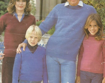 Vintage Family Easy V-Neck and Round Neck DK Sweater Knitting Pattern