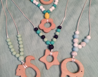 Teething- wooden pendent teething necklaces