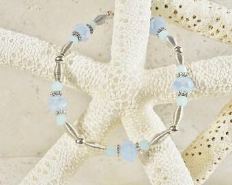 Bracelet, Silver Bracelet, Aqua and Periwinkle Blue Colored Crystal Bracelet, Silver Tone Bracelet, Handmade Jewelry
