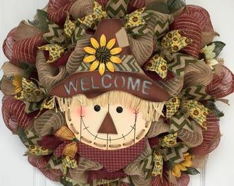 Sunflower Scarecrow Autumn Welcome Wreath Handmade Deco Mesh
