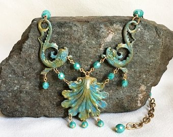 Mermaid Choker in Sea Blue and Antique Gold