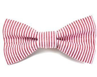 Red and White Striped Seersucker Dog Bow Tie / Made to Order