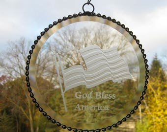 God Bless America Flag clear stained glass bevel