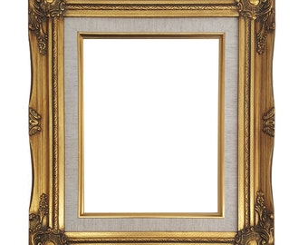 Ornate Baroque Gold Painted Wooden Frame with Cream Linen Liner Shabby Chic Sizes 5x7, 8x10, 11x14, 16x20, 20x24, 24x36