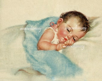 Beautiful Baby Art Print Restored Antique Art #456