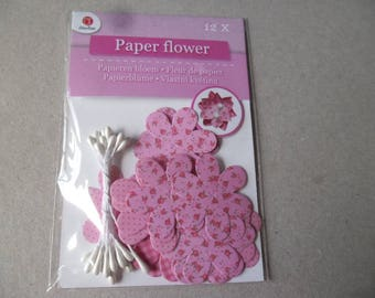 x 1 set of 12 pink tone pattern to make yourself 3D paper flowers + white