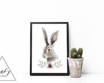 Rabbit illustration, rabbit poster, minimalist poster, wall art, baby room, home decor, animal painting, Stefy, Stefy artist, gift idea