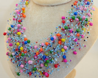 Multicolor beaded necklace jewelry handmade valentine gift for her girlfriend bridesmaid valentine's wedding bridal necklaces crochet