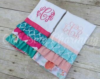 Ruffle Monogrammed Burp Cloth/Keepsake