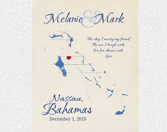 Bahamas Map Print, Custom Map of the Bahamas, Personalized Anniversary Gift, Wedding Gift, Destination Wedding Keepsake, Island Map Art