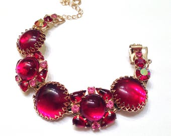 "Gorgeous Deep Pigeon Blood Red Weiss Jelly Poured Glass Bracelet- 7""- Signed"