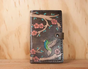 Hummingbird Journal Cover - Leather Moleskine Journal in the May pattern with hummingbirds and cherry blossoms - pink, green, antique black