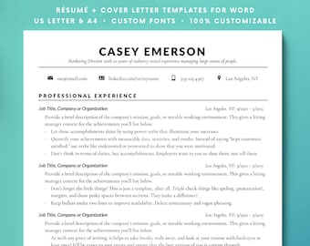 Resume Template, Resume, CV, Instant Download Resume, Classic Professional Resume for Word, Minimalist Resume, Clean Resume CV docx