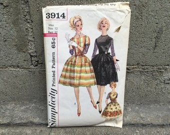 60's Simplicity 3914 Pattern Misses' One-Piece Dress Pattern - Size 12 Bust 32