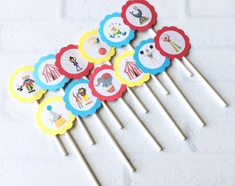 Carnival Theme Party - Carnival Cupcake Toppers - Carnival Party Decorations - Circus Theme Party - Circus Tent Birthday - Circus Party