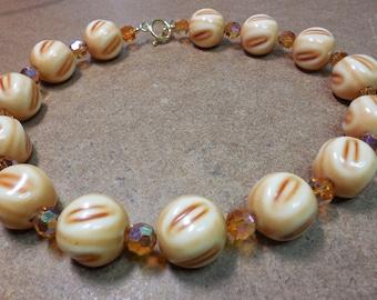Vintage Necklace Reuptake with Vintage Topaz Swarovski Crystals