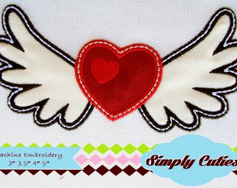 Winged Heart MACHINE EMBROIDERY / INSTANT